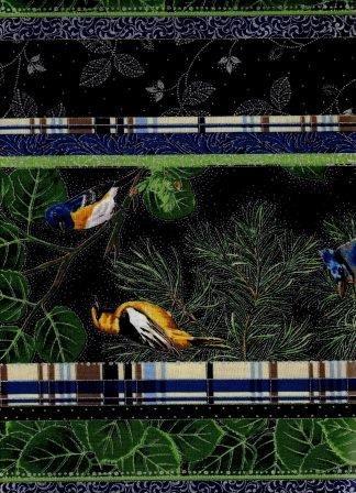 Robert Kaufman Aspen Creek L7288 Black/ Silver Birds Border Stripe