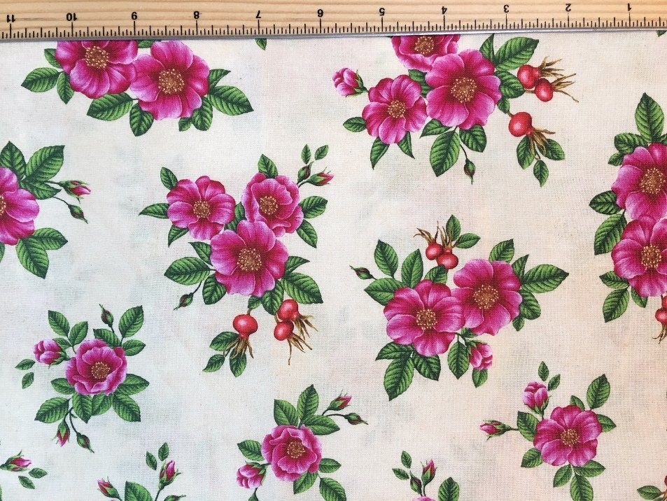 Robert Kaufman | Wildflowers of Maine - Maine Shop Hop Fabric - ROSE RUGOSA