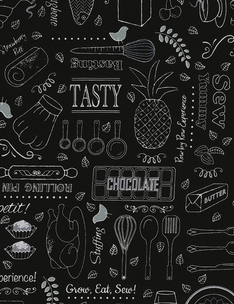 Row by Row - Taste the Experience 2019 - Cooking Words and Things Row-C6795-Black