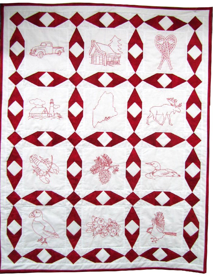 The Fabric Garden-Ruby Red Quilt Pattern with 12 Maine-themed Line Drawings for Hand Embroidery