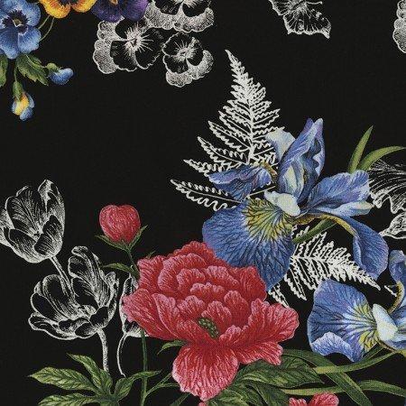 Timeless Treasures Garden Journal - Garden Journal Spaced Bouquet Ruth-C5446-Black