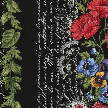 Timeless Treasures Garden Journal - 11″ Floral Stripe Ruth-C5454-Black
