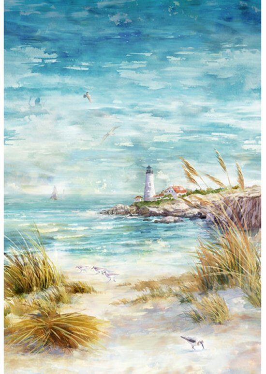 Hoffman | Shoreline Stories S4798 484 Seaside Lighthouse Panel 31 inches