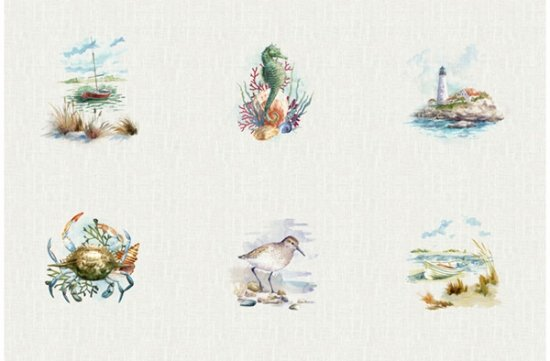 Hoffman   Shoreline Stories S4803 20 Sea Collage Panel 66 inches