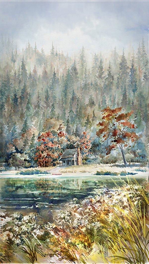 Hoffman Woodland Whispers Digital S4839 611 PANEL River Rock Scenic Lake Trees Cabin