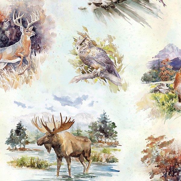 Hoffman Woodland Whispers Digital S4840 20 Natural Wildlife Toss Moose Deer Owl