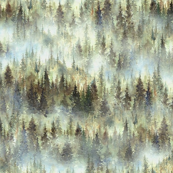Hoffman Woodland Whispers Digital S4845 44 Forest Trees