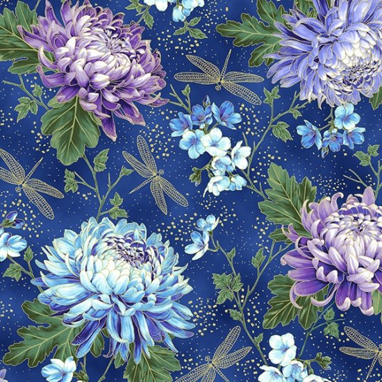 Hoffman | Graceful Garden 7730 18G Royal Blue/ Gold Chrysanthemum Dragonfly