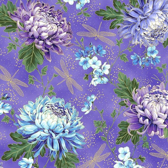 Hoffman | Graceful Garden 7730 229G Wisteria / Gold Chrysanthemum Dragonfly