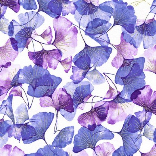 Hoffman | Graceful Garden 7731 81G Violet/ Gold Ginko Leaves