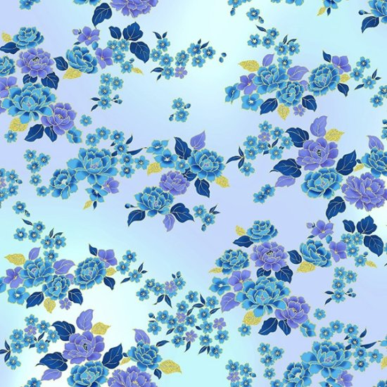 Hoffman | Graceful Garden 7733 139 Periwinkle/ Gold Blooms and Leaves