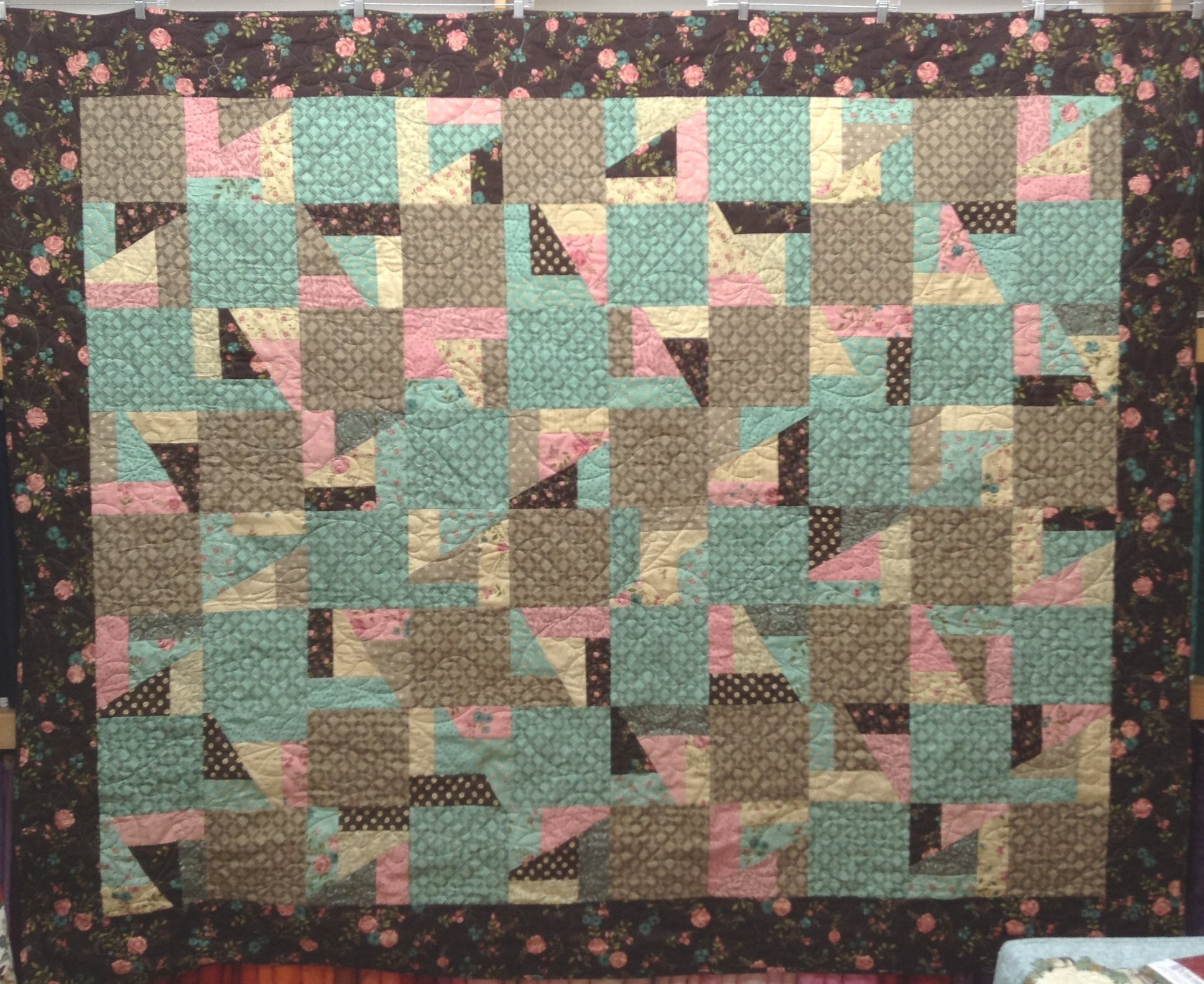 Quilt for Sale: Scrap Crazy Quilt - Brown / Pink / Teal floral - 72 x 88