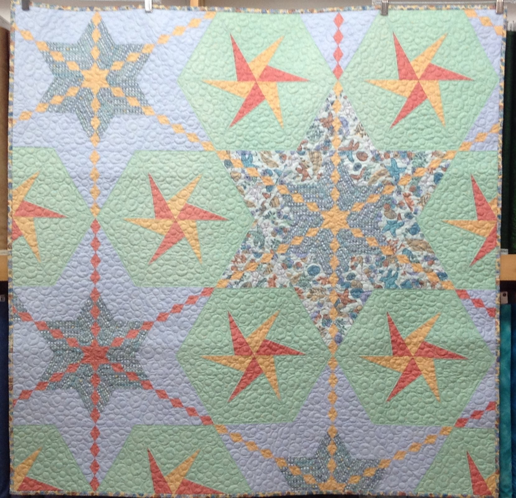Quilt / Wall Hanging for Sale:  Sea Stars 46 x 46