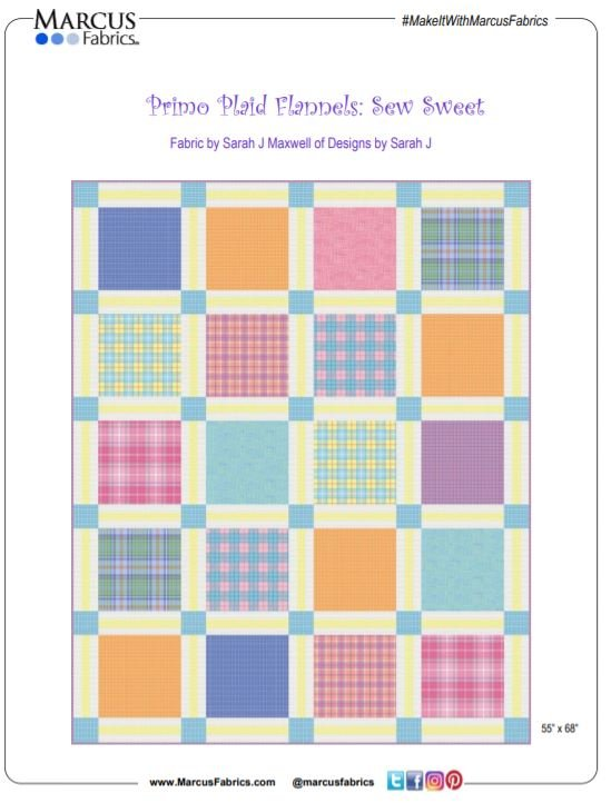 Free Pattern:  Sew Sweet Quilt - Primo Plaid Flannels by Marcus
