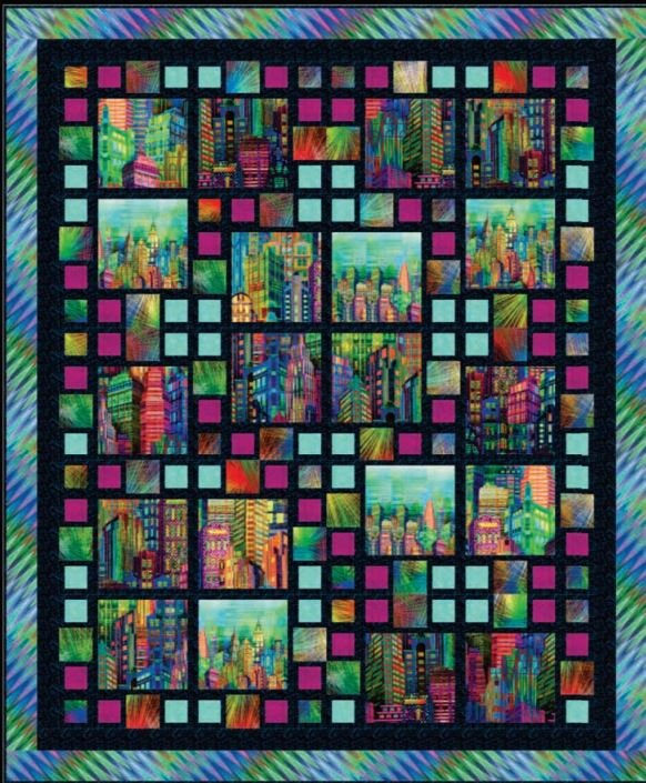 Free Pattern:  Skylines Sensation quilt for SKYLINES by Larene Smith for Hoffman Fabrics