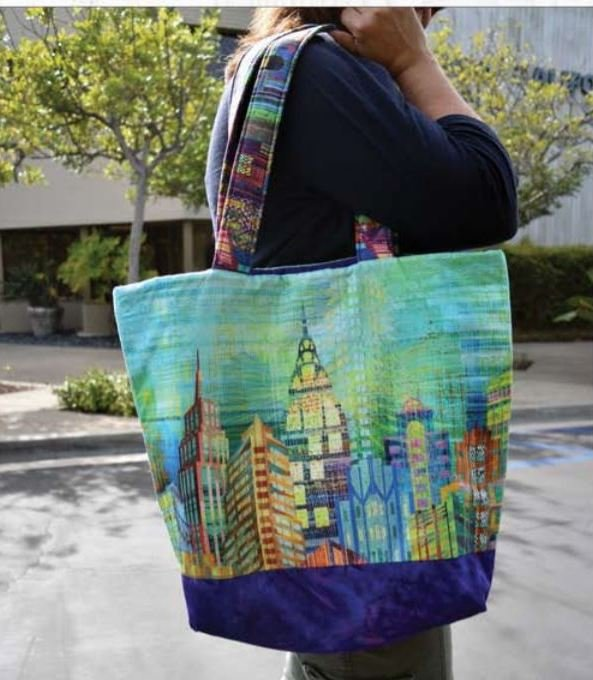 Free Pattern:  Hoffman Digital Skylines - Easy Market Bag