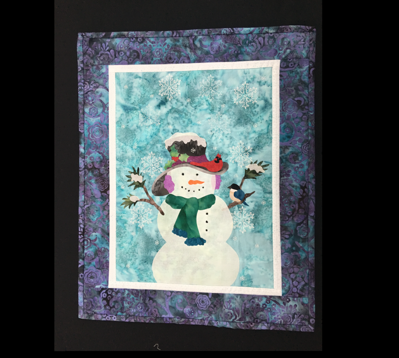 For Sale: Winter Snowman Wall Hanging with Embroidered Snowflakes - 17 x 21