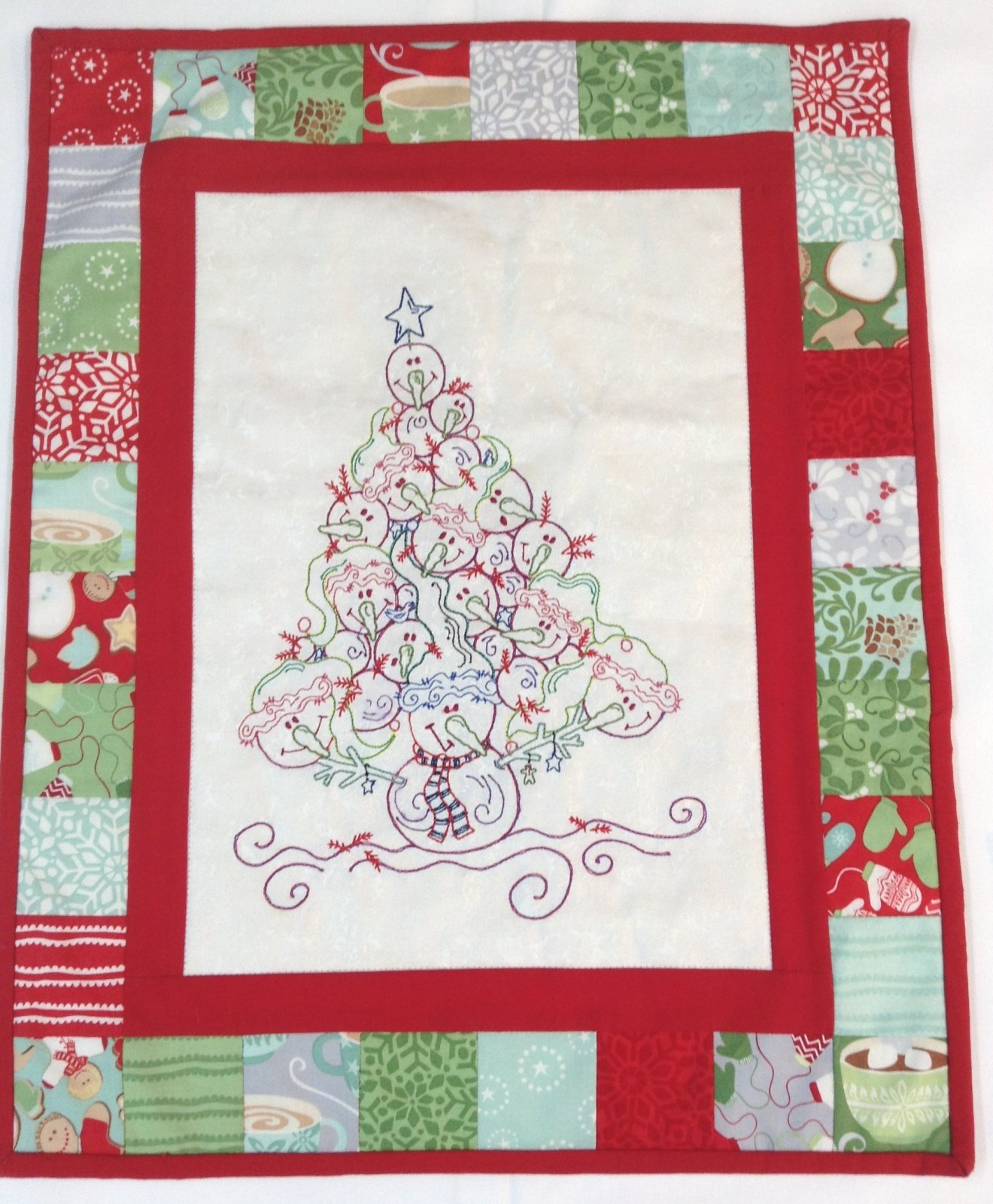 Wall Hanging for Sale:  Snowman Tree - Embroidered Center - 16 1/2 x 20 1/2