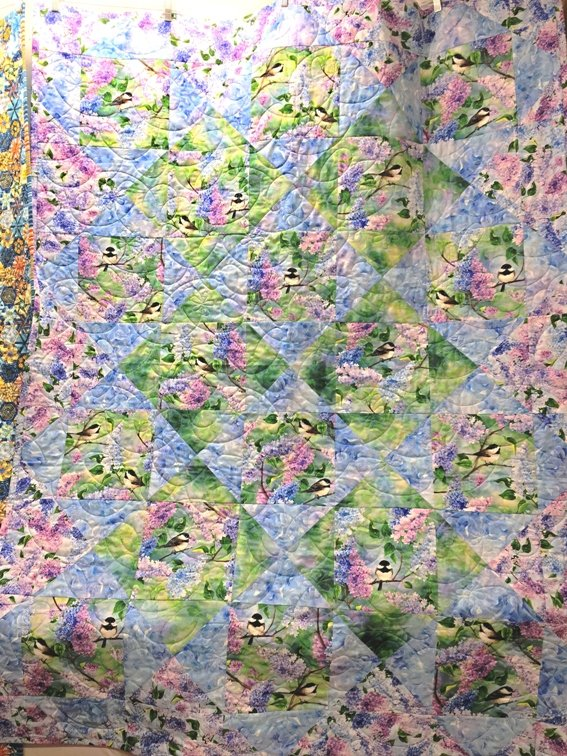 Spring Song Chickadee Lilac QUILT KIT - Digital Fabrics