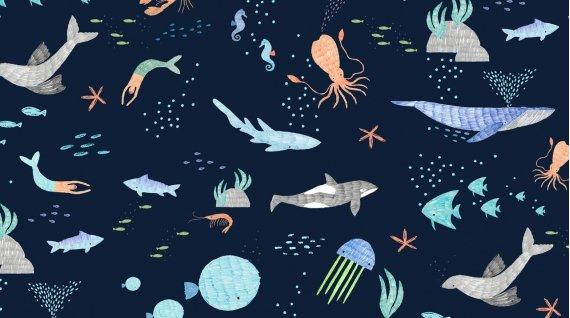 Dear Stella - Pier Pressure - Stella-934 Navy - Whale Mermaid Starfish Nautical