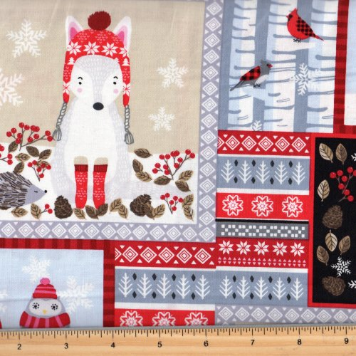 Studio E | Snow Delightful - Woodland Animal Patchwork  3853 93