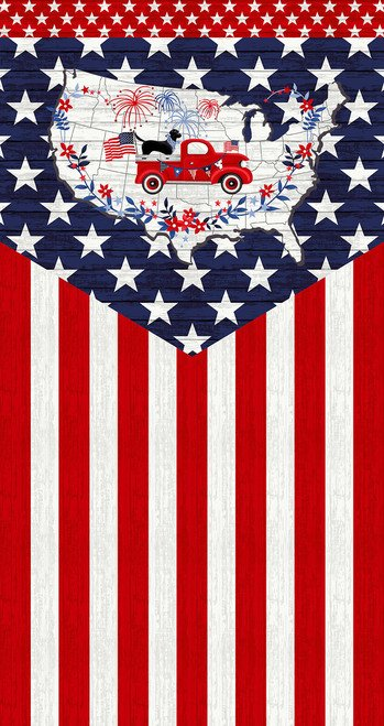 Studio E - Truckin In The USA 4997P-78 PANEL Patriotic Flag Truck Dog