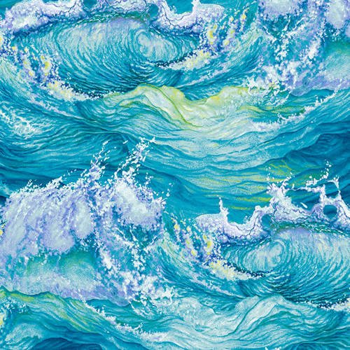 The Lightkeepers Quilt | 5008-16 Aqua Crashing Waves by Studio E Fabric
