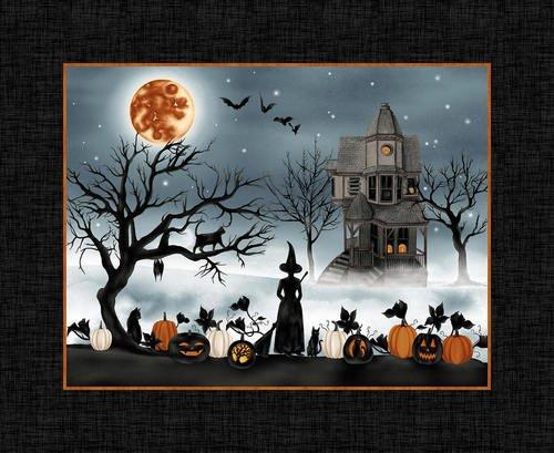 Studio E HARVEST MOON 5240P-99 Black 36 PANEL Haunted House Halloween