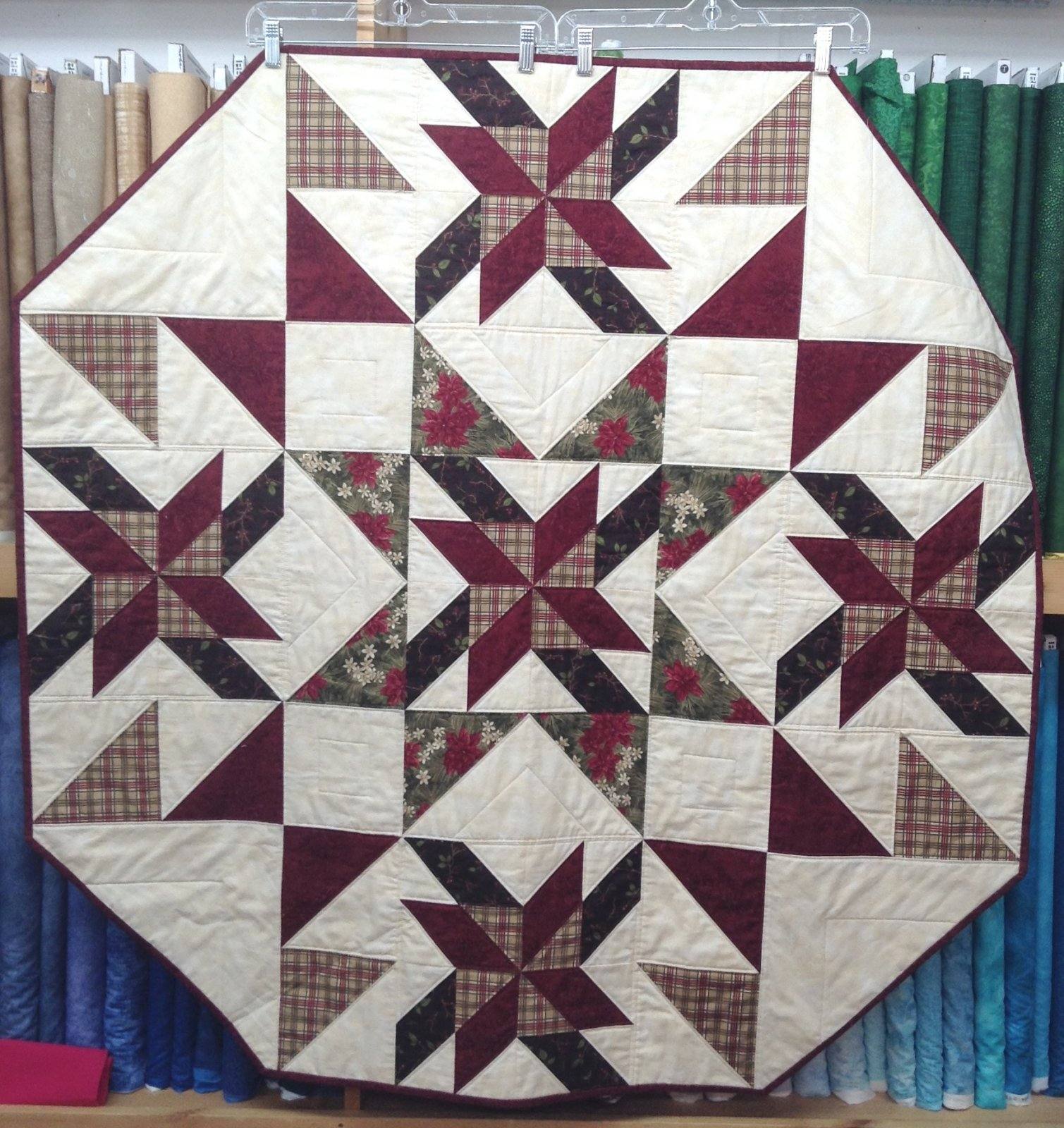 Table Topper / Tree Skirt for Sale - Pointsettia & Plaid 47.5 x 47.5