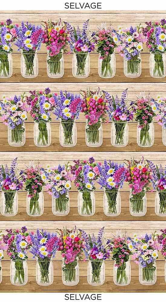 Timeless Treasures Fleur C7567 Wildflower Bouquet in Jars