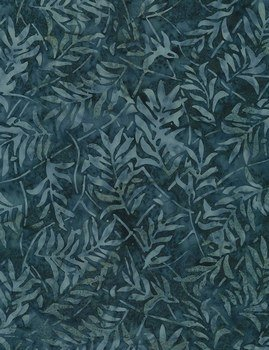 Timeless Treasures Tonga Batik - Pebble B6249 Navy - Forest Leaves