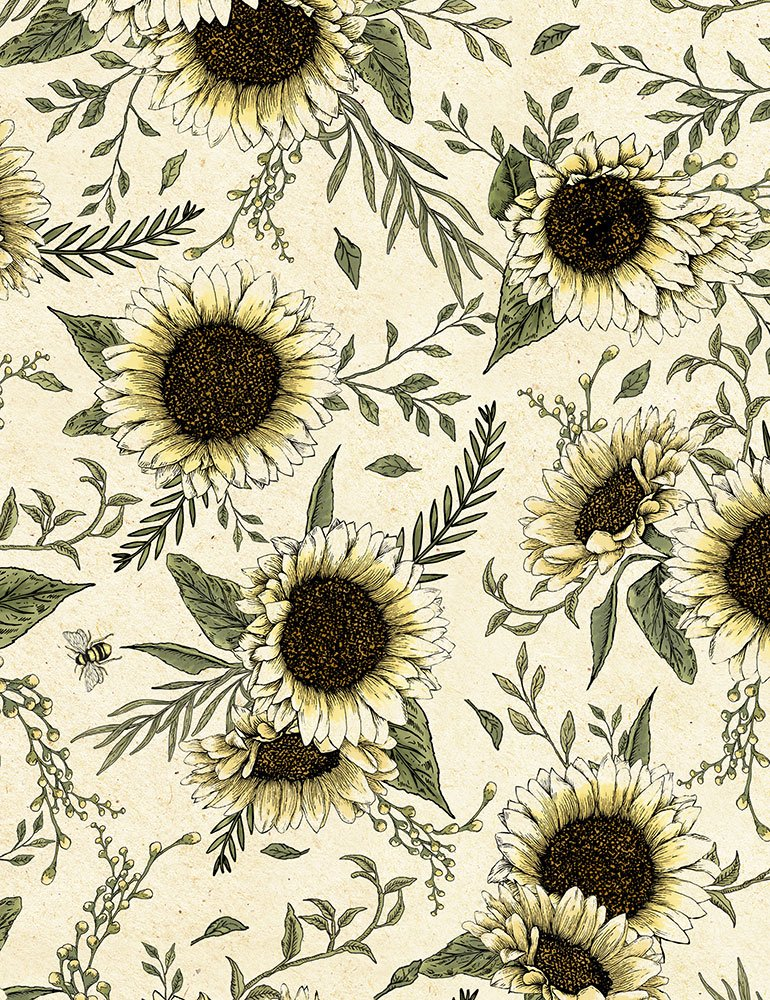 Timeless Treasures - Hive Rules - Sunflowers BEE-C7174 Natural