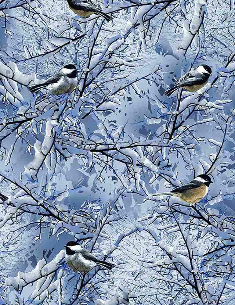 Timeless Treasures Bird C7850 Blue - Winter Chickadees on Branches