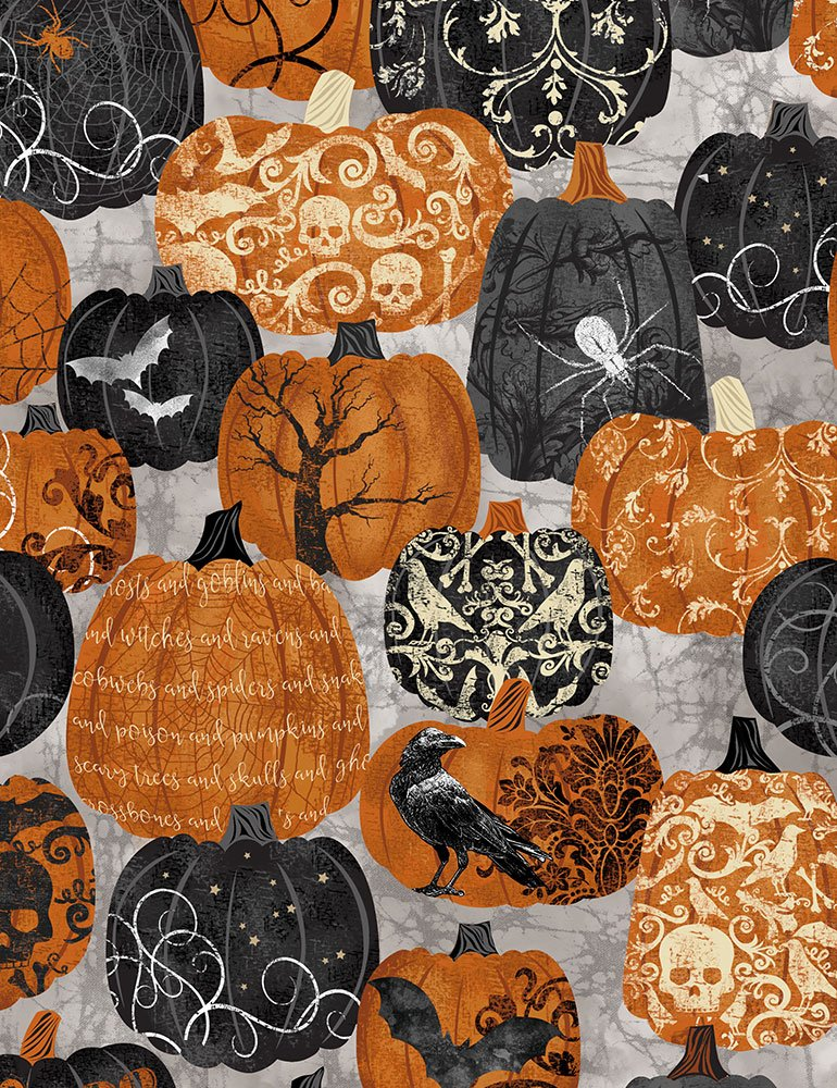 Timeless Treasures BOO-C7082 Pumpkin with Designs