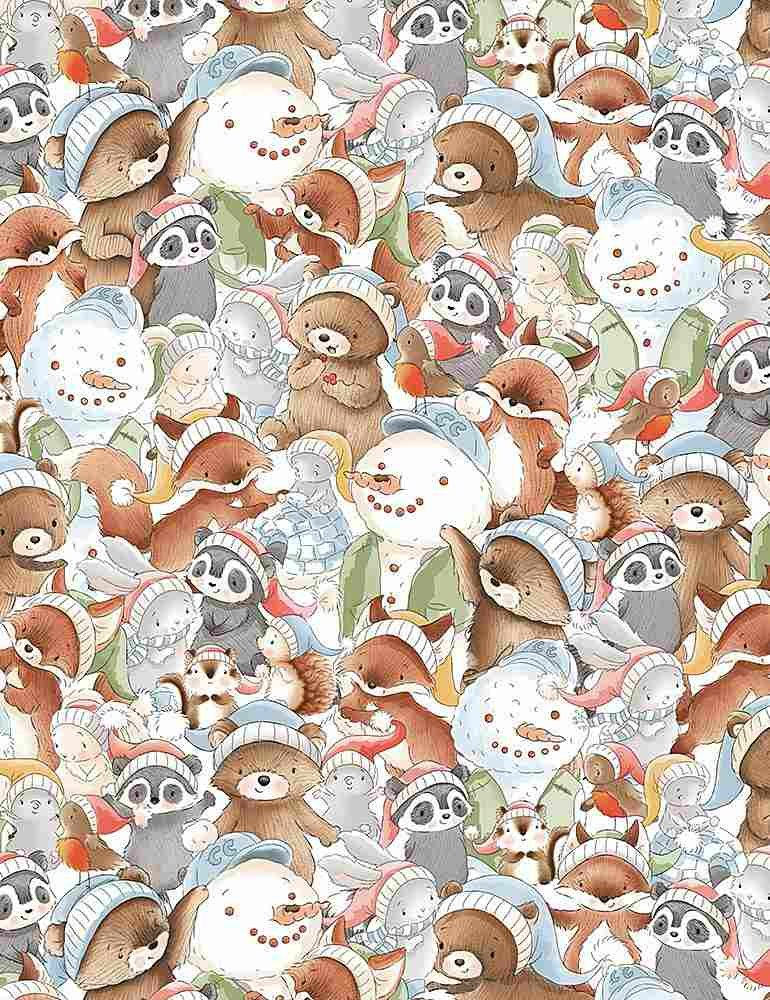 Timeless Treasures Snow Day C7550 Multi - Packed Winter Animals