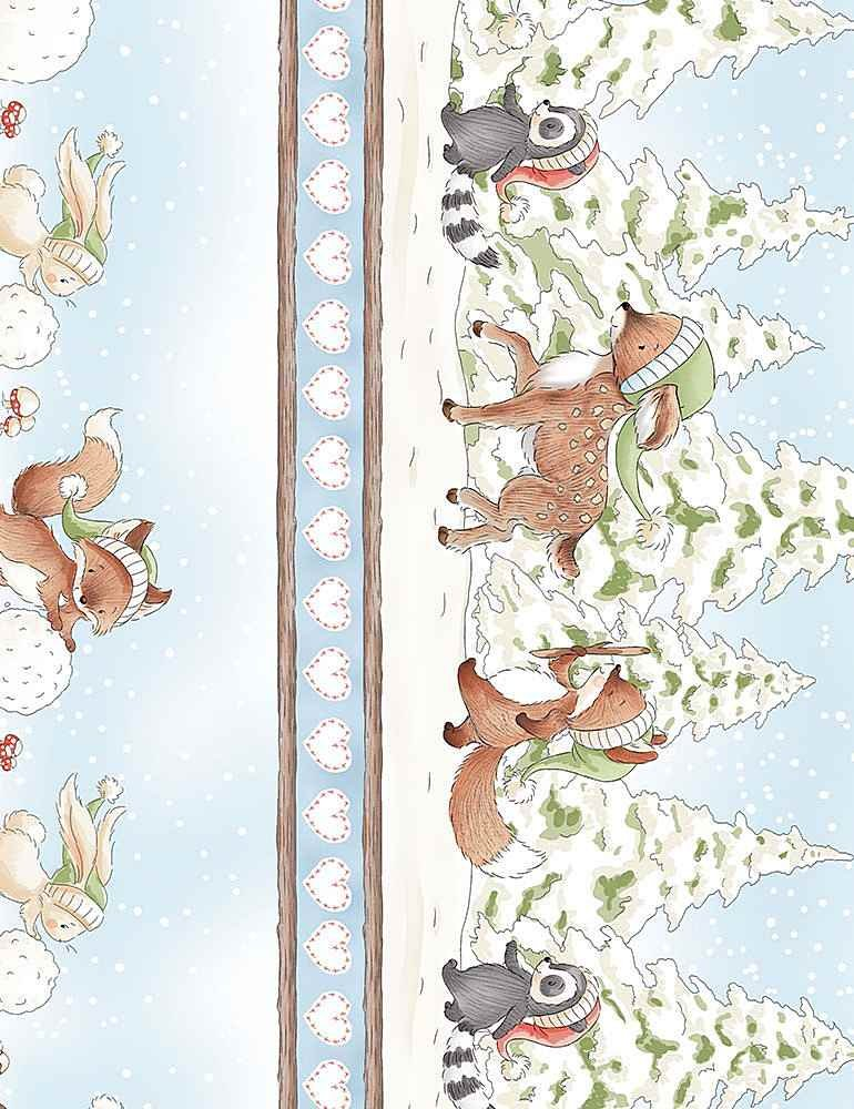 Timeless Treasures| Snow Day C7552-Multi - Winter Animals 11 stripe