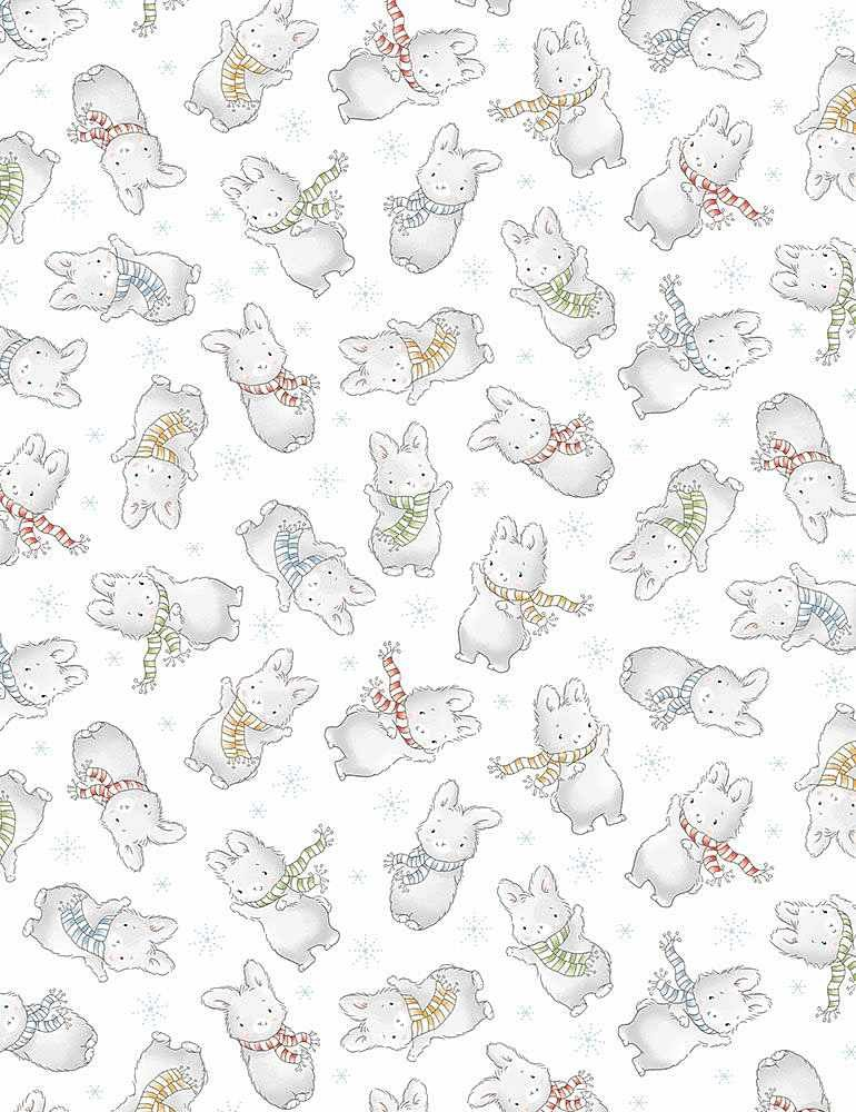 Timeless Treasures Snow Day C7556 White - Tossed Winter Bunnies