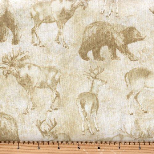 Timeless Treasures Cabin C4804 Cream Bear Deer Moose