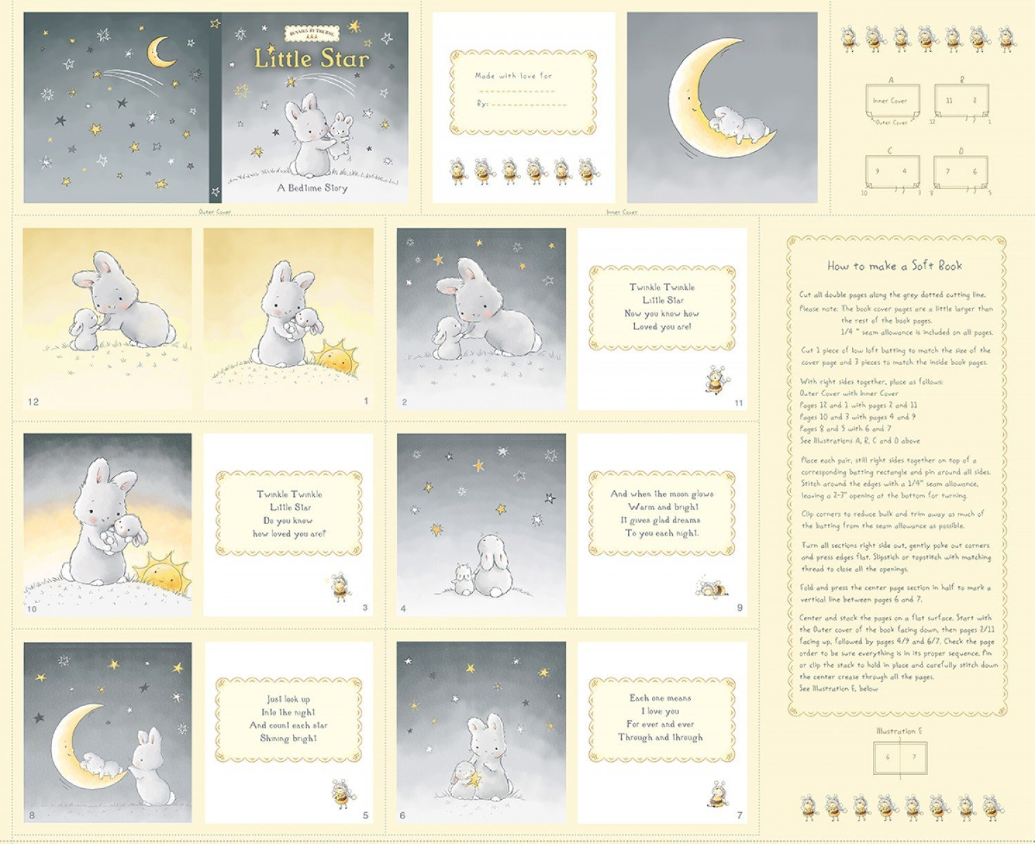 Little Star by Bunnies By The Bay for Timeless Treasures - Little Star Soft Book Bunny Panel C6448 Yellow