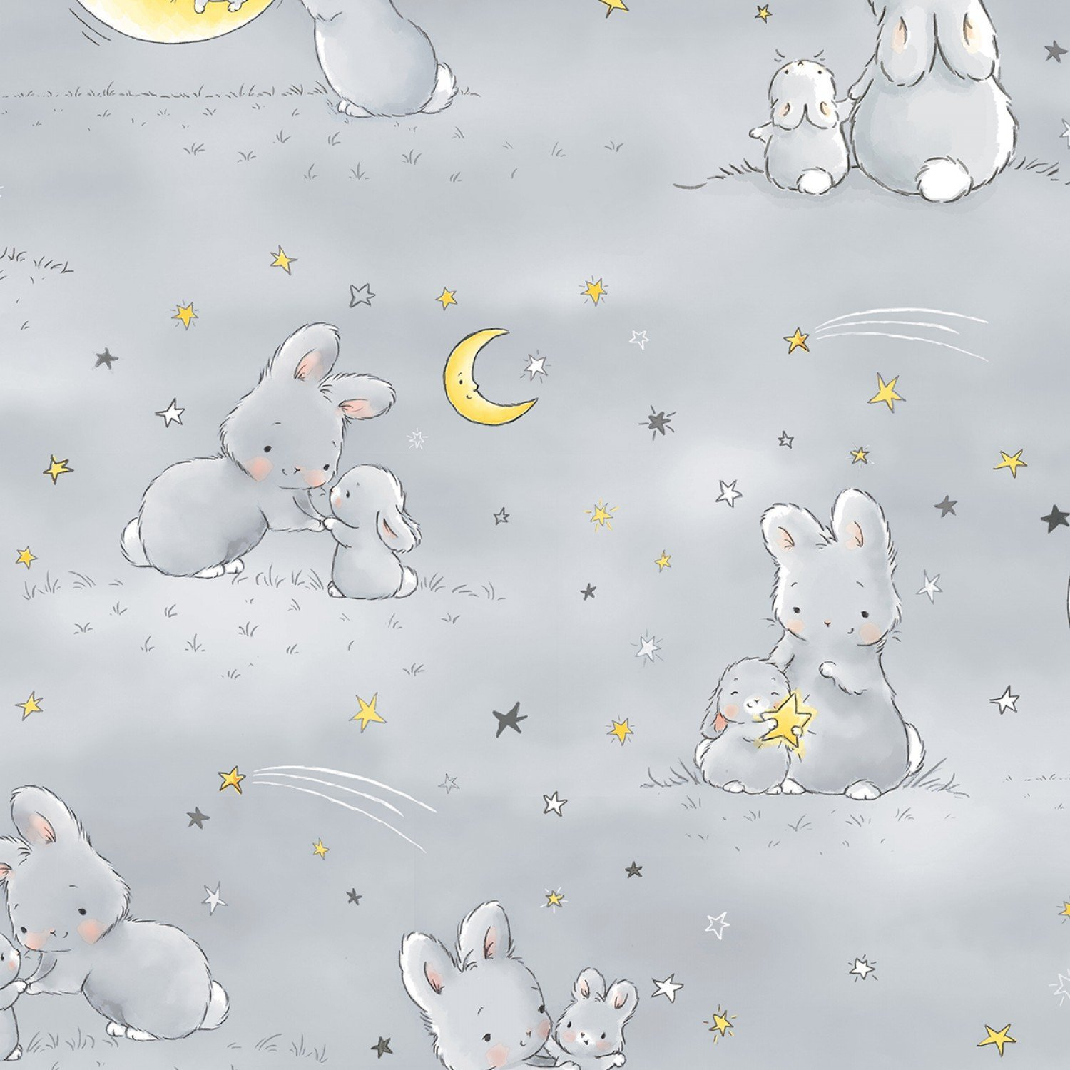 Little Star by Bunnies By The Bay for Timeless Treasures - Bunnies and Little Ones with Moons C6453 Grey