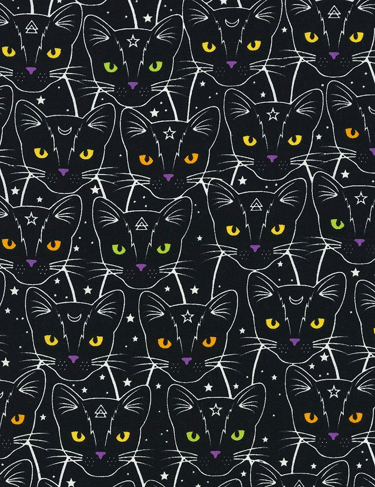 Timeless Treasures - CAT-CG7018 Glow In The Dark Star and Moon Cats