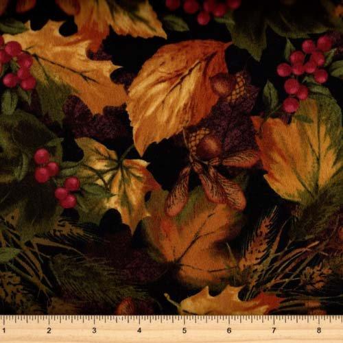 Timeless Treasures Flannel  Nature CF3570 Black