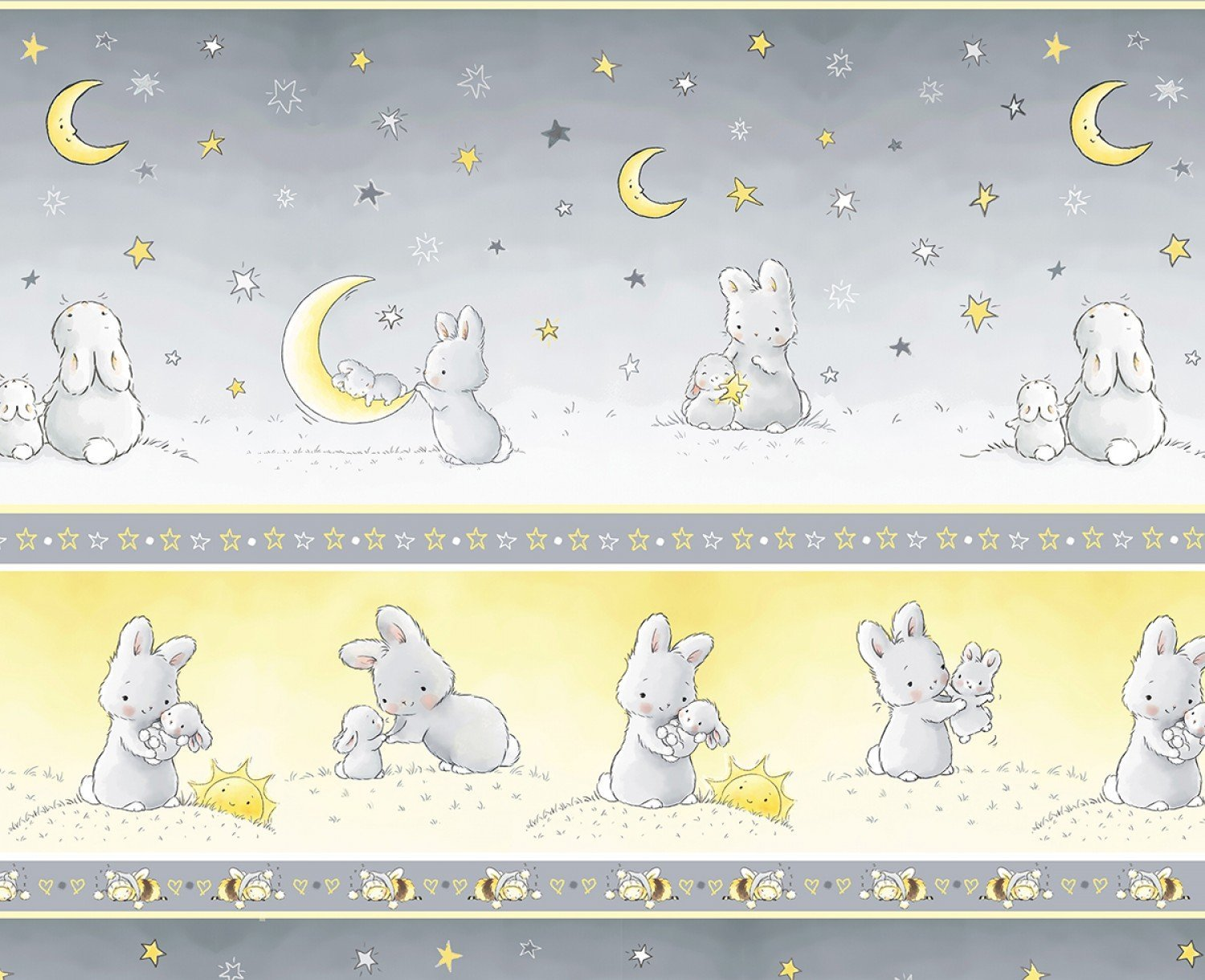 Little Star by Bunnies By The Bay for Timeless Treasures - Bunny Stripe C6452 Grey