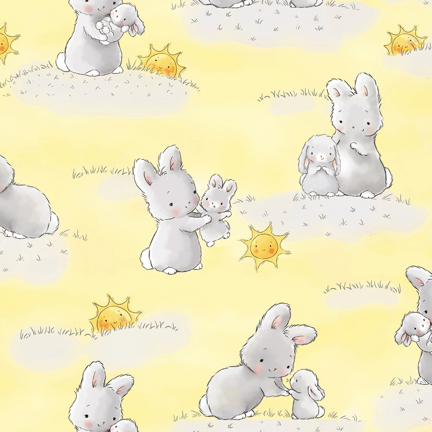 Little Star by Bunnies By The Bay for Timeless Treasures - Bunnies and Little Ones Sunshine C6454 Yellow