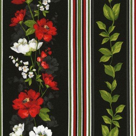Timeless Treasures - Colette - Flower Stripe C6333 Black