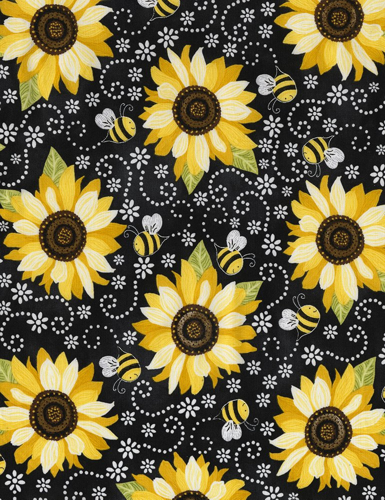 Timeless Treasures You Are My Sunshine |Sunflowers and Bees Gail-C5345-Black