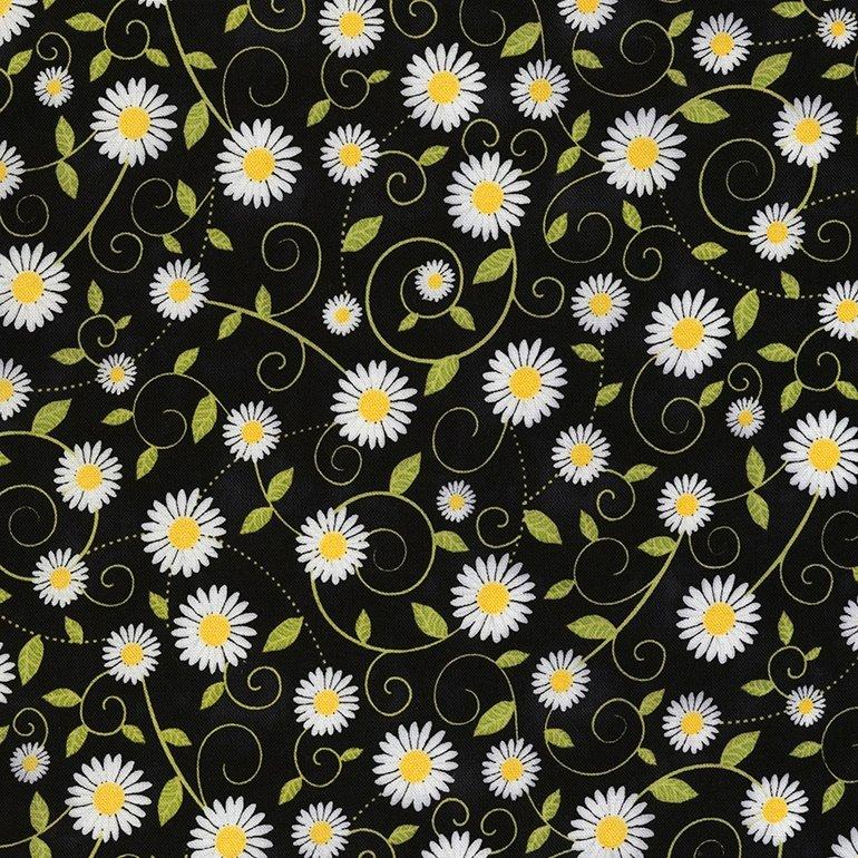 Timeless Treasures You Are My Sunshine   Daisy Vines C5498 Black