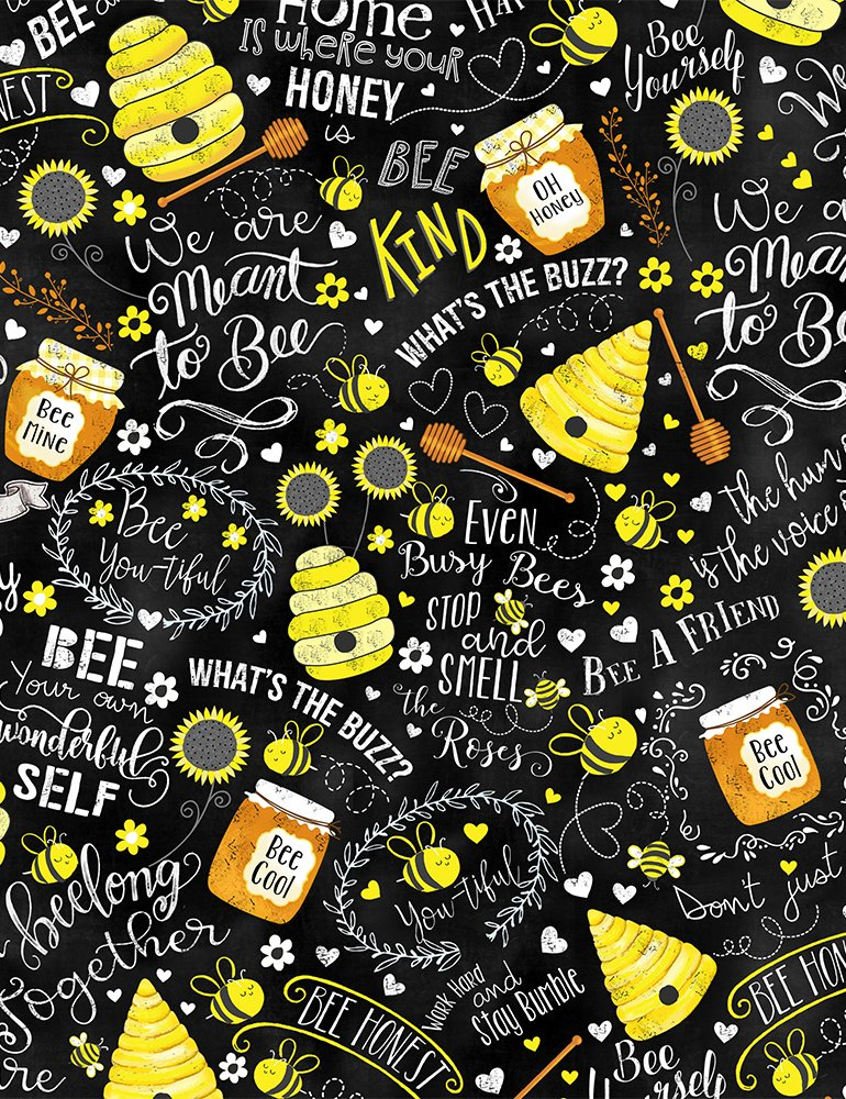Timeless Treasures- Whats the Buzz - Gail-C7852 Busy Bees Chalk Words Bee
