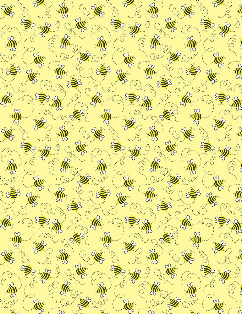 Timeless Treasures- Whats the Buzz - Gail-C7854 Yellow Swirling Bees Bee