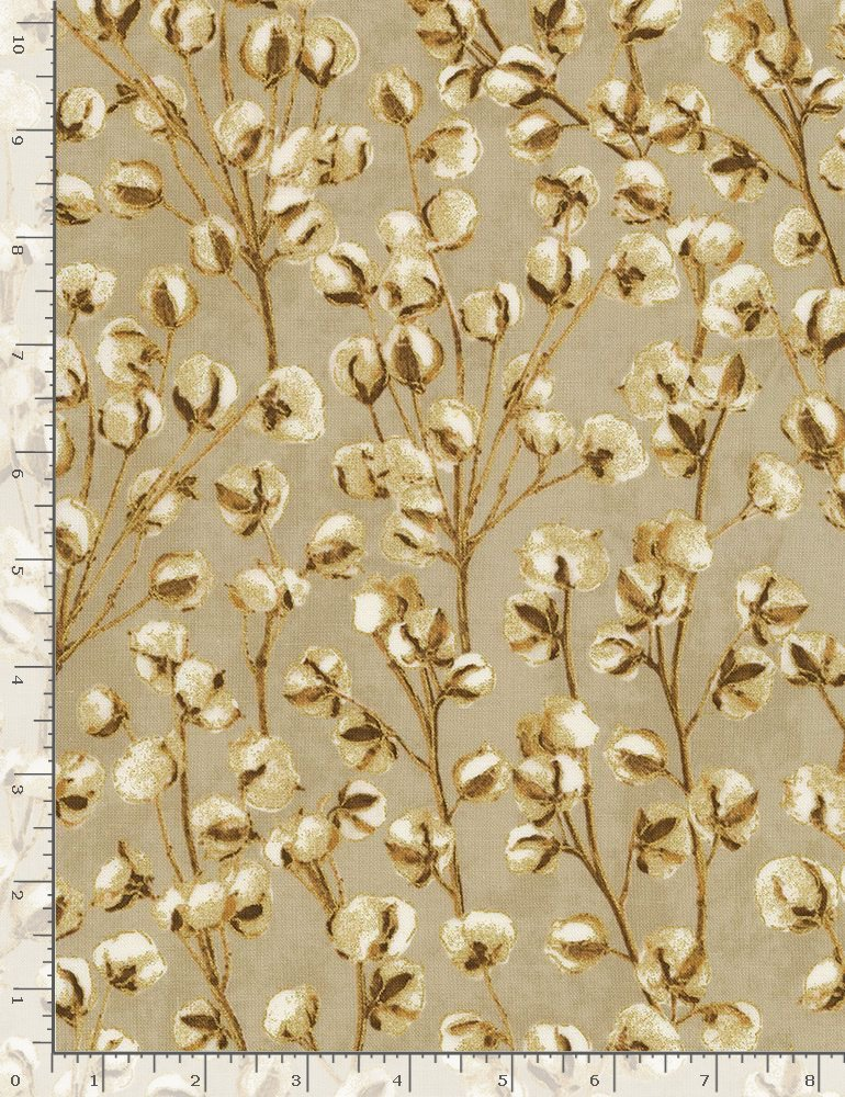 Timeless Treasures COUNTRY HARVEST Harvest CM7698 Tan - Cream Cotton Blooms